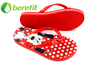 Girls Flip Flops with PVC Upper And PE Sole with Red Mickey Design