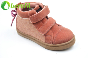 Orange Velvet Kids Shoes Size 12 with Two Vecro Straps