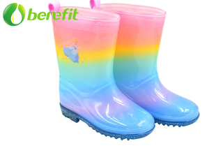 Junior PVC Tall Rainbow Printed Kids Rain Boots